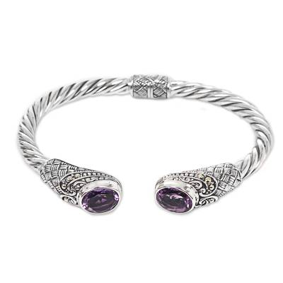 Amethyst cuff bracelet, 'Sterling Rope' - Hand Crafted Amethyst Cuff Bracelet from Indonesia