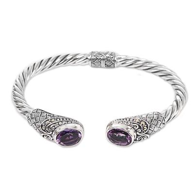 Fair Trade Gold Accent Purple Amethyst Sterling Silver Twist Cuff Bracelet