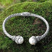 Cultured pearl cuff bracelet, 'Sterling Rope' - Cultured Pearl Sterling Silver Cuff Bracelet from Indonesia
