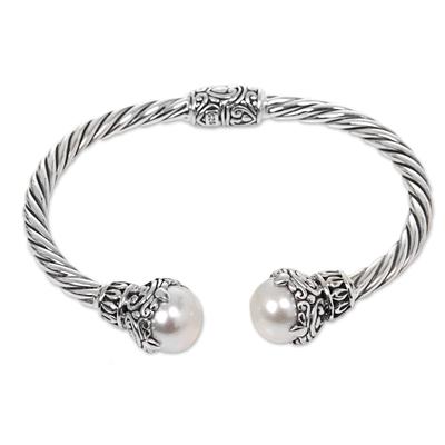 Cultured pearl cuff bracelet, 'Sterling Rope' - Cultured Pearl Sterling Silver Cuff Bracelet from Indonesia