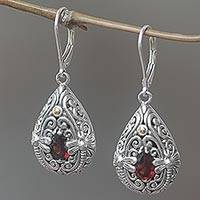 Gold accented garnet dangle earrings, 'Dragonfly Duet' - Garnet and Sterling Silver Handmade Dragonfly Earrings