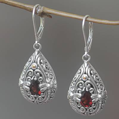 Gold Accented Garnet Dangle Earrings Dragonfly Duet And Sterling Silver Handmade