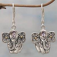 Gold accented amethyst dangle earrings, 'Indonesian Elephant' - Hand Made Amethyst Elephant Dangle Earrings from Indonesia