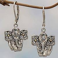 Gold accented blue topaz dangle earrings, 'Indonesian Elephant'