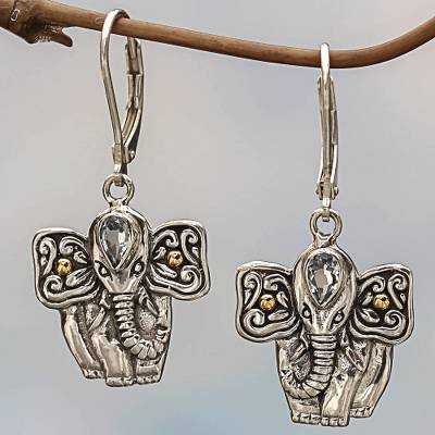Gold accented blue topaz dangle earrings, 'Indonesian Elephant' - Balinese Blue Topaz Sterling Silver Elephant Dangle Earrings