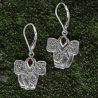 Garnet dangle earrings, 'Red Gajah'