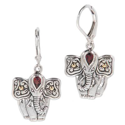 Garnet dangle earrings, 'Red Gajah' - Garnet and Sterling Silver Balinese Elephant Dangle Earrings