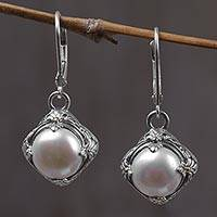Gold accented cultured pearl dangle earrings, 'White Altar'