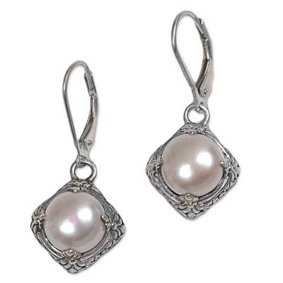 Gold accented cultured pearl dangle earrings, 'White Altar' - Cultured Freshwater Pearl and Sterling Silver Earrings