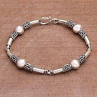 Featured review for Sterling silver link bracelet, Tubes