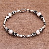 Sterling silver link bracelet, 'Tubes' - Sterling Silver Link Bracelet with Balinese Designs