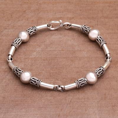 Sterling silver link bracelet, 'Tubes' - Sterling Silver Link Bracelet