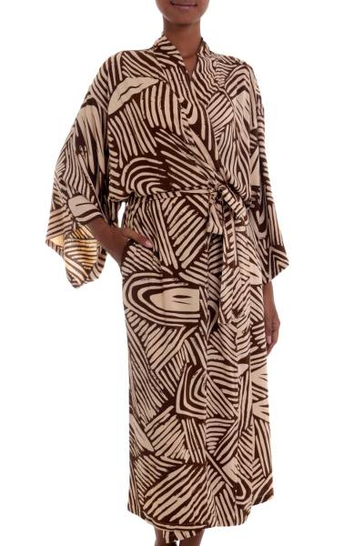 One Size Fits Most Long Cool Rayon Robe for Women 2 Pockets