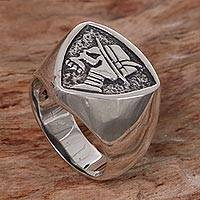 Men's sterling silver signet ring, 'Dapper Skull'