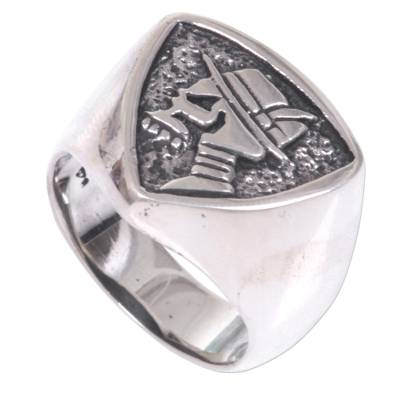 Men's sterling silver signet ring, 'Dapper Skull' - Hand Made Sterling Silver Skull Signet Ring from Indonesia