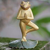 Wood sculpture, 'Frog Pose'