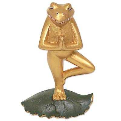Wood sculpture, 'Frog Pose' - Hand Carved Frog Sculpture Gold Tone from Indonesia