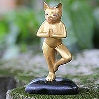 Wood sculpture, 'Cat's Pose' - Hand Carved Gold Tone Wood Sculpture Cat from Indonesia