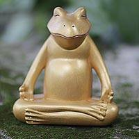 Wood sculpture, 'Peaceful Frog'