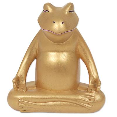 Wood sculpture, 'Peaceful Frog' - Hand Made Gold Tone Wood Frog Sculpture from Indonesia