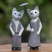 Wood sculptures, 'Bali Cat Couple' (pair)