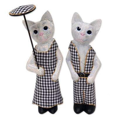Hand Made Wood Cat Sculptures (Pair) from Indonesia