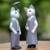 Wood sculptures, 'Bali Cat Couple' (pair) - Hand Made Wood Cat Sculptures (Pair) from Indonesia (image 2b) thumbail
