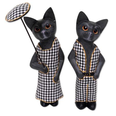 Hand Made Wood Cat Sculptures Dark Grey (Pair) Indonesia