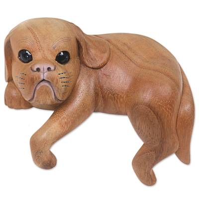 Hand Made Wood Dog Sculpture Natural Finish from Indonesia
