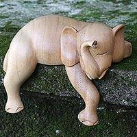 Wood sculpture, 'Napping Elephant' - Hand Carved Elephant Sculpture Natural Finish from Indonesia