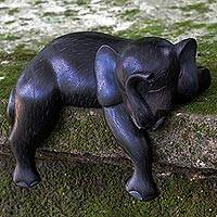 Wood sculpture, 'Elephant Sleeping' - Hand Made Wood Sculpture of Elephant from Indonesia