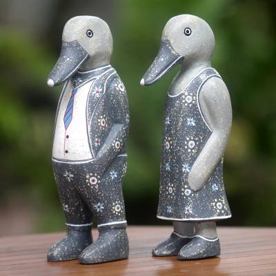 Wood sculpture, 'Grey Duck Fashionistas' (pair) - Hand Carved Wood Sculptures of Duck Pair from Indonesia