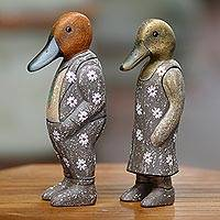 Wood sculptures, 'Floral Duck Fashionistas' (pair) - Wood Sculptures Ducks Floral Motif (Pair) from Indonesia