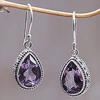 Amethyst dangle earrings, 'Sparkling Dew'