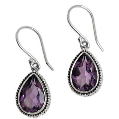 Amethyst dangle earrings, 'Sparkling Dew' - 925 Silver Earrings with Amethyst Total 8 Carats from Bali