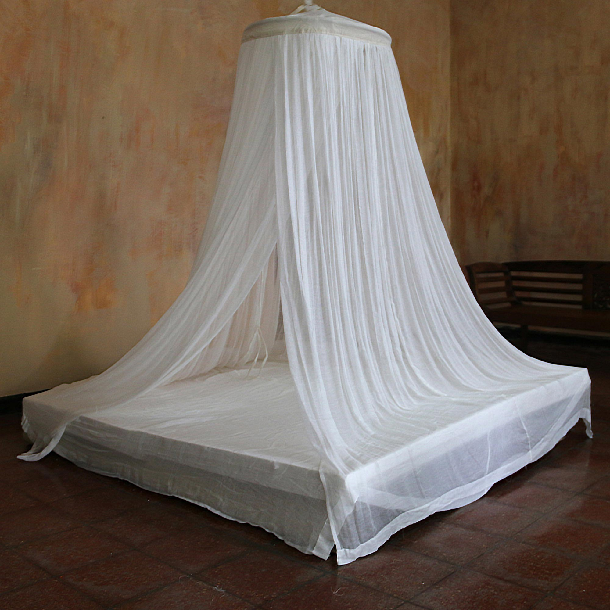 - Handmade White Cotton Bed Canopy With Bamboo Ring - Ethereal Dream