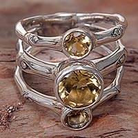 Citrine multi-stone ring, 'Bamboo Dew' - Hand Made Citrine Sterling Silver Multistone Ring Indonesia