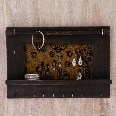 Wood and cotton jewelry display wall panel, 'Tegalalang Heritage in Dark Brown' - Hand Crafted Jewelry Display Wall Panel in Wood and Cotton