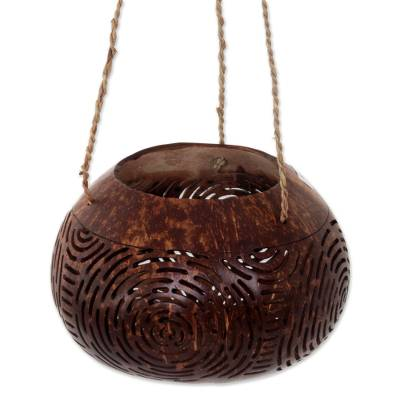 Hand Made Coconut Shell Decorative Accent Circle Indonesia