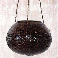 Coconut shell hanging basket, 'Earthen Shrine' - Hand Made Coconut Shell Decorative Accent from Indonesia