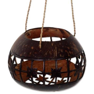 Hand Made Coconut Shell Hanging Accent from Indonesia