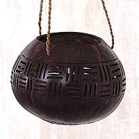 Coconut shell hanging basket, 'Geometric Bali' - Hand Made Coconut Shell Accent Geometric from Indonesia