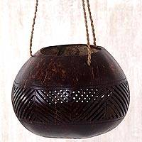 Coconut shell hanging basket, 'Alignment' - Coconut Shell Agel Cord Hanging Basket from Indonesia