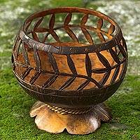 Coconut shell catchall, 'Bamboo Wraps' - Hand Carved Coconut Shell Catchall from Indonesia
