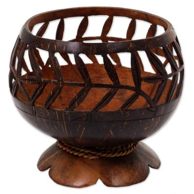 Hand Carved Coconut Shell Catchall from Indonesia