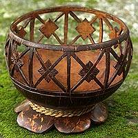 Coconut shell catchall, 'Lotus Squares' - Coconut Shell Agel Grass Cord Catchall from Indonesia