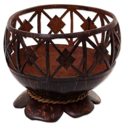 Coconut Shell Agel Grass Cord Catchall from Indonesia