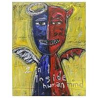 '2 in 1 Inside Human Mind' - Angel and Devil Duality of Man Painting from Bali