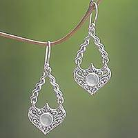 Aventurine dangle earrings, 'Misty Eyes' - Sterling Silver Aventurine Dangle Earrings from Indonesia