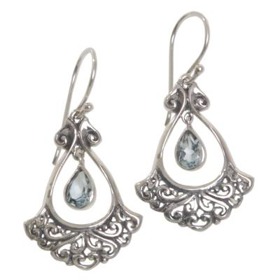 Sterling Silver Blue Topaz Dangle Earrings from Indonesia